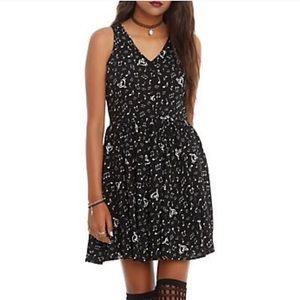 Hot Topic Music Note Skater Dress Open Tie Back